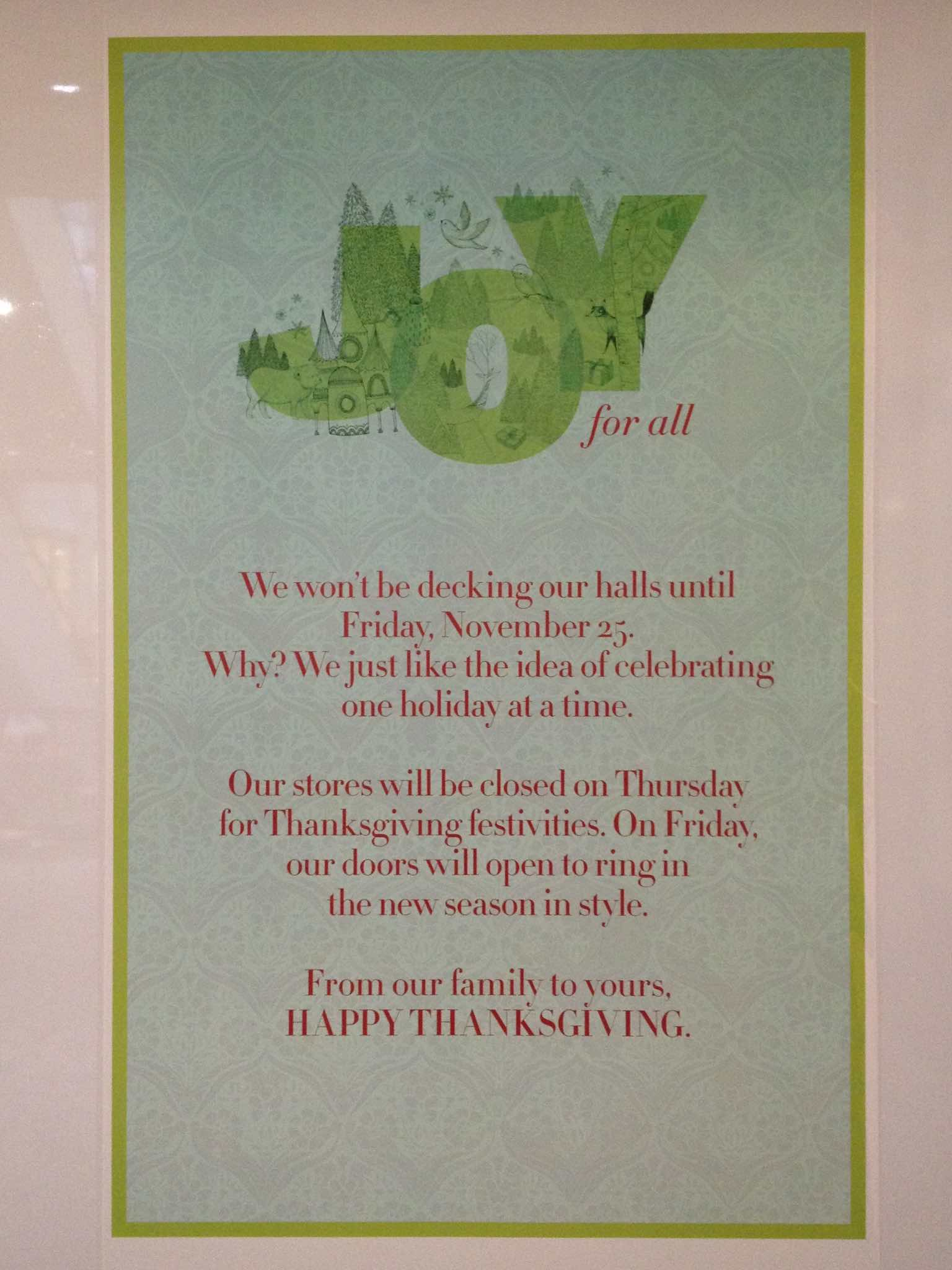 Sign seen in Nordstrom window, text follows