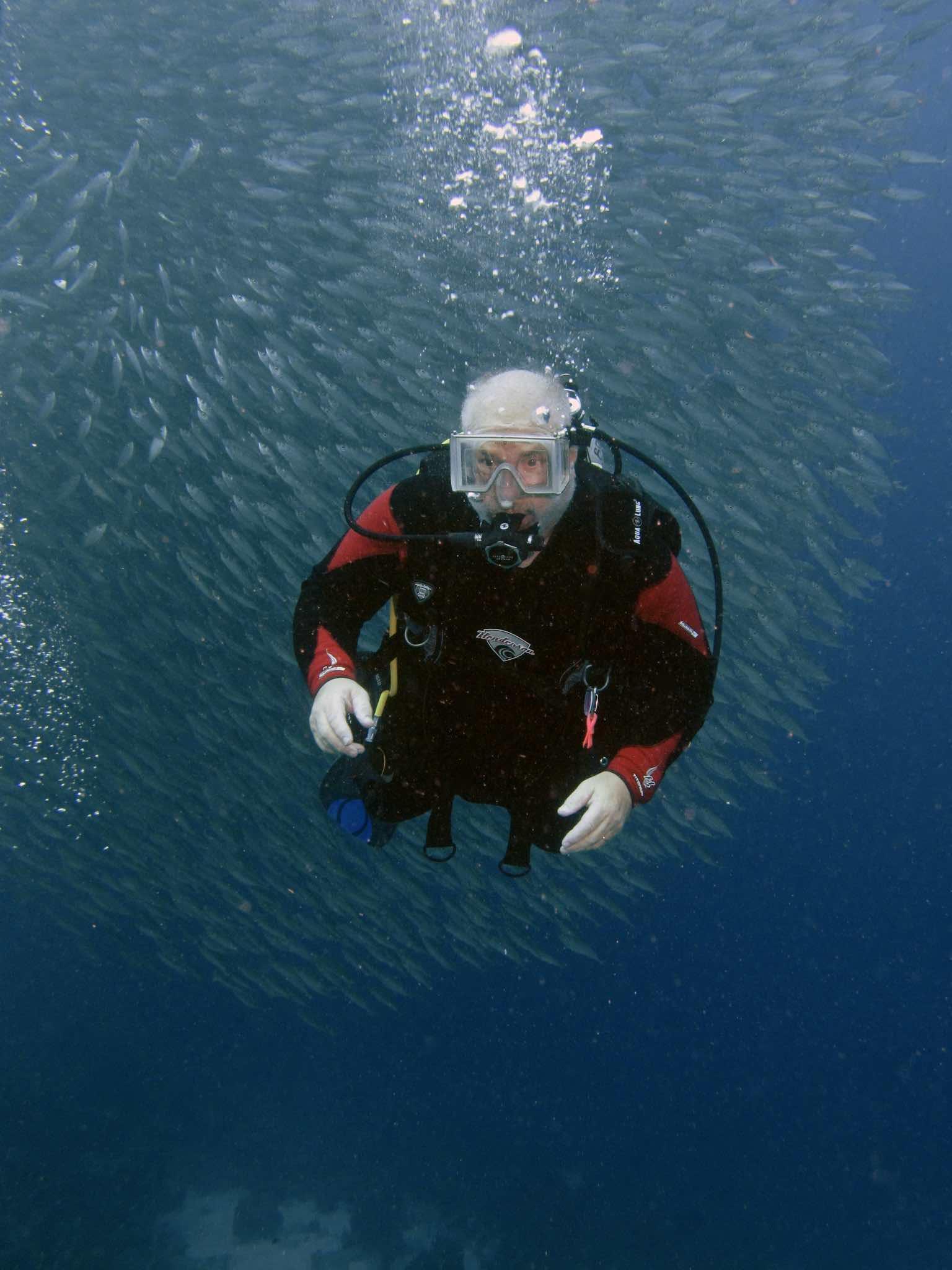 Paul Adler in front of the bait ball