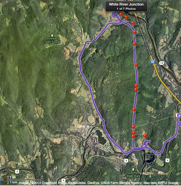 A track of my location during the morning, showing the path of the balloon