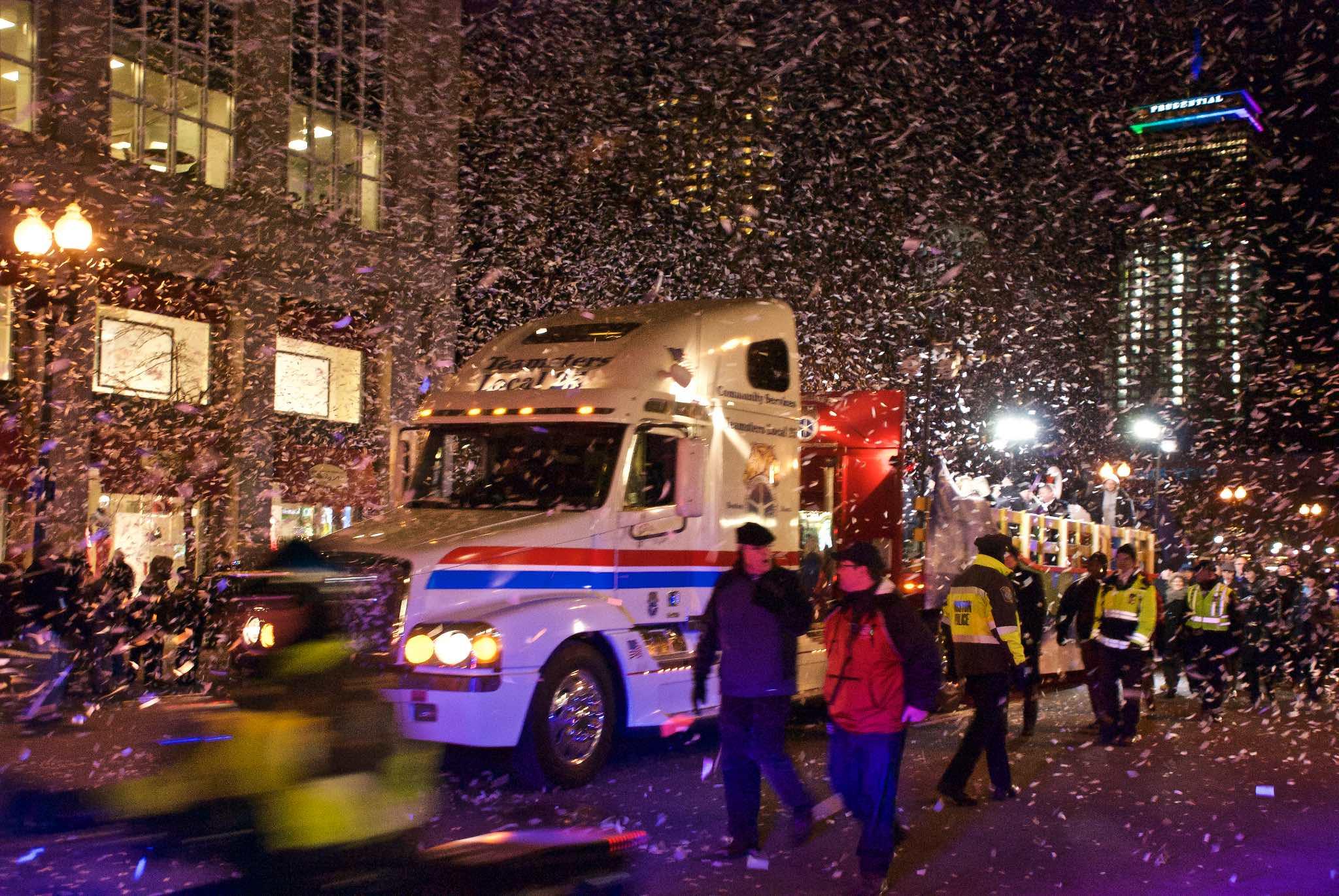 Confetti truck at the First Night Grand Procession