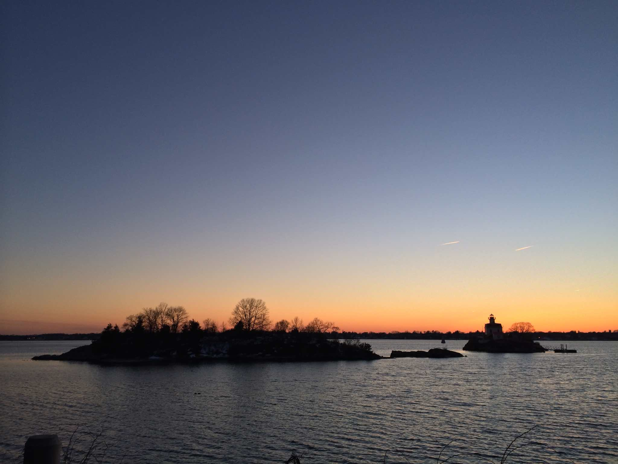 Sunset from the East Bay Bike Path, featuring the Pomham Rocks Lighthouse